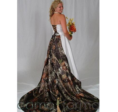 Vintage Plus Size Camo Wedding Dresses Bridal Gowns Strapless Lace-up Back  Sweep Train A Line Custom Made Satin Wedding Dress Brautkleider sold by ...