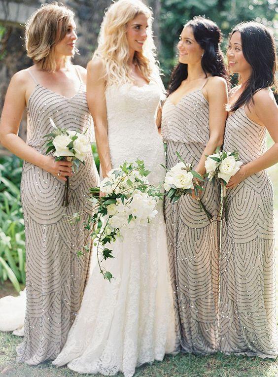 784632fb Stylish Silver Sequin Bridesmaid Dresses, Different Style Long Bridesmaid  Dresses
