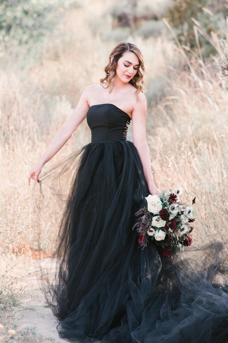 Black Wedding Gown.2019 Black Wedding Dress Strapless Tulle Wedding Dresses Bridal Dress Unique Wedding Gown Bridal Gown From Misszhu Bridal
