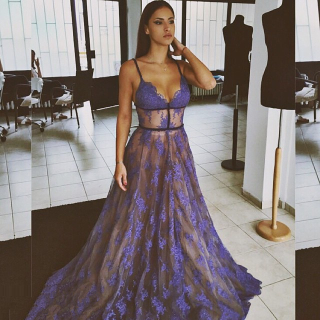 a056ae0348ac 2019 Purple Lace Evening Gowns, Nude Lining Long Sexy Evening Dress ...