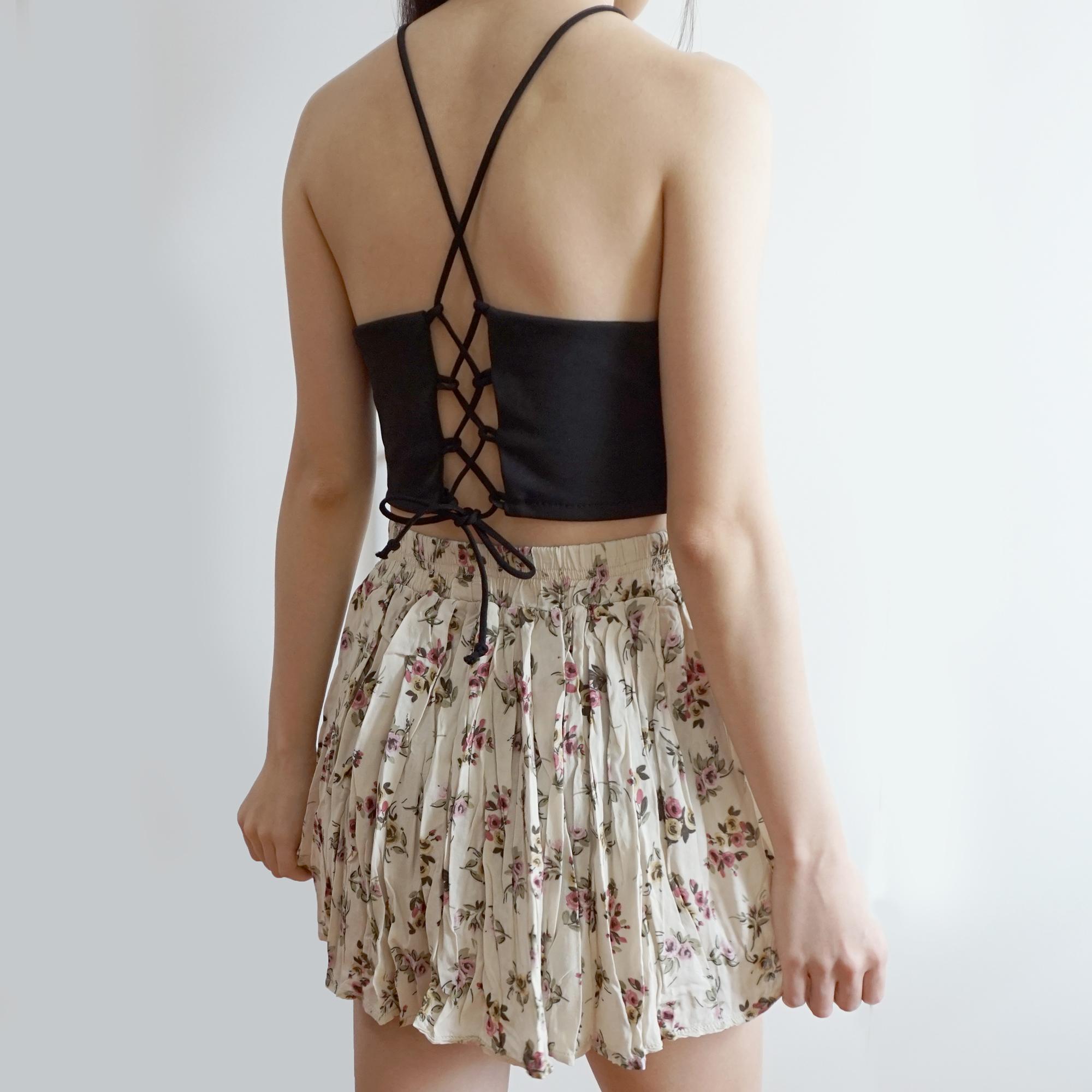 166221cabfe82 Crochet Cross Back Halter Crop Top (2 Colors) · Megoosta Fashion ...