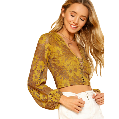 32ed4aefdbb Grommet Crisscross Floral Crop Top Ginger Deep V Neck Puff Sleeve Women  Slim Lace Blouse 2018