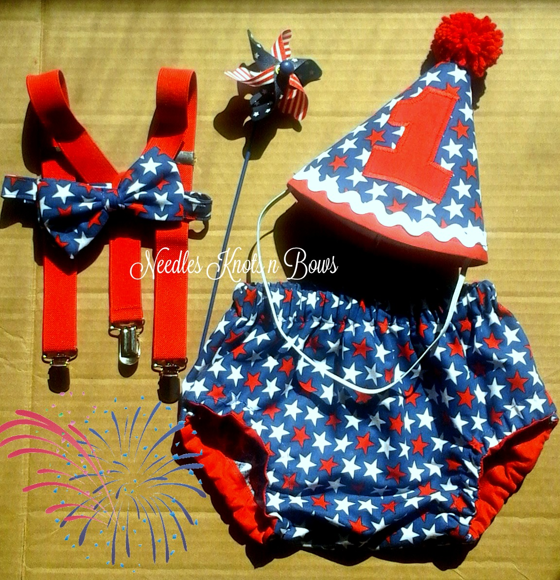 Boys 4th Of July Cake Smash First Birthday Outfit