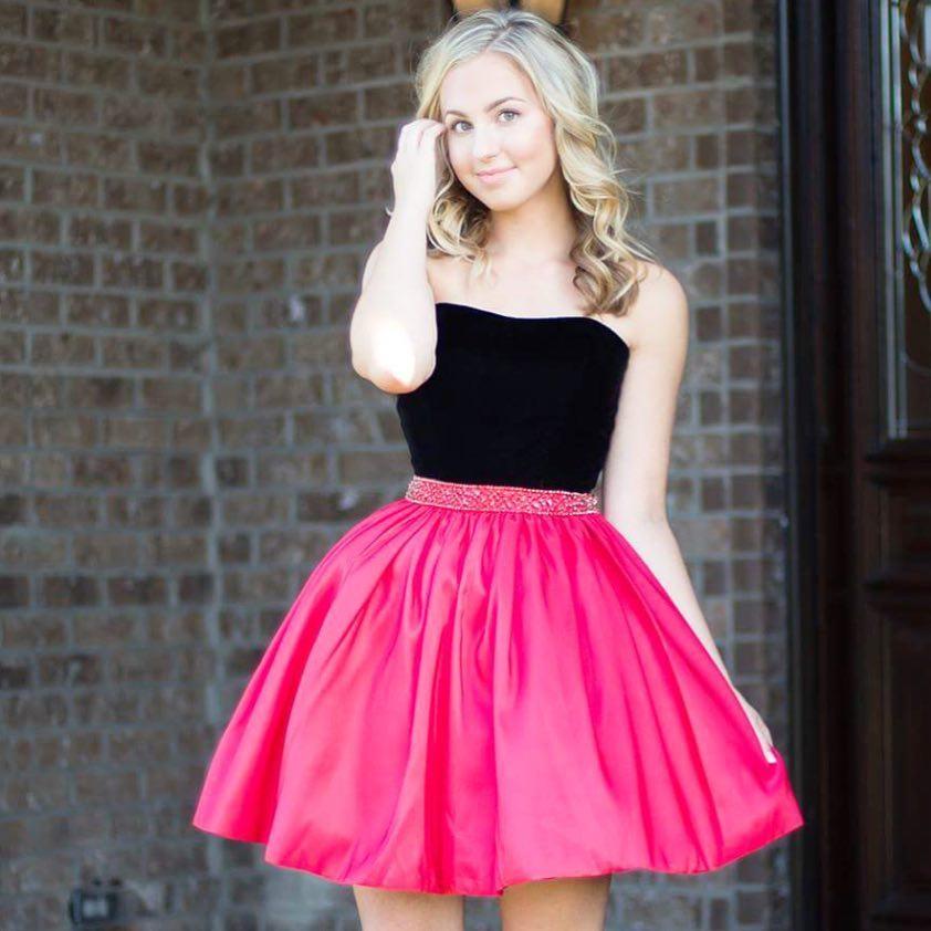 Pink and Black Short Dresses
