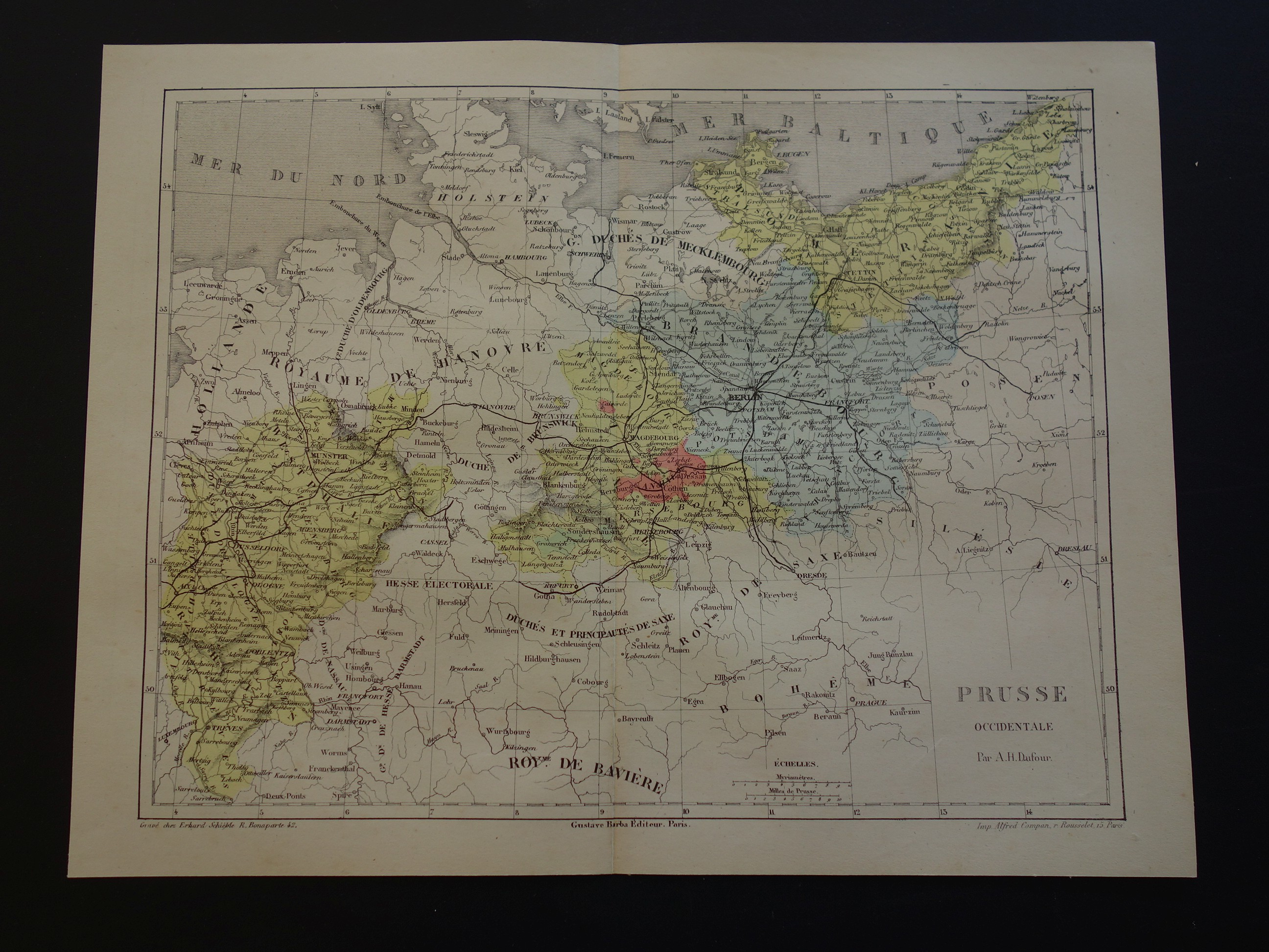 Map Of Germany For Sale.Prussia Antique Map Of Germany Poland 1858 Genuine Vintage French Print About Berlin Szczecin Cologne Vintage Maps 28x37c 11x15 Small Poster