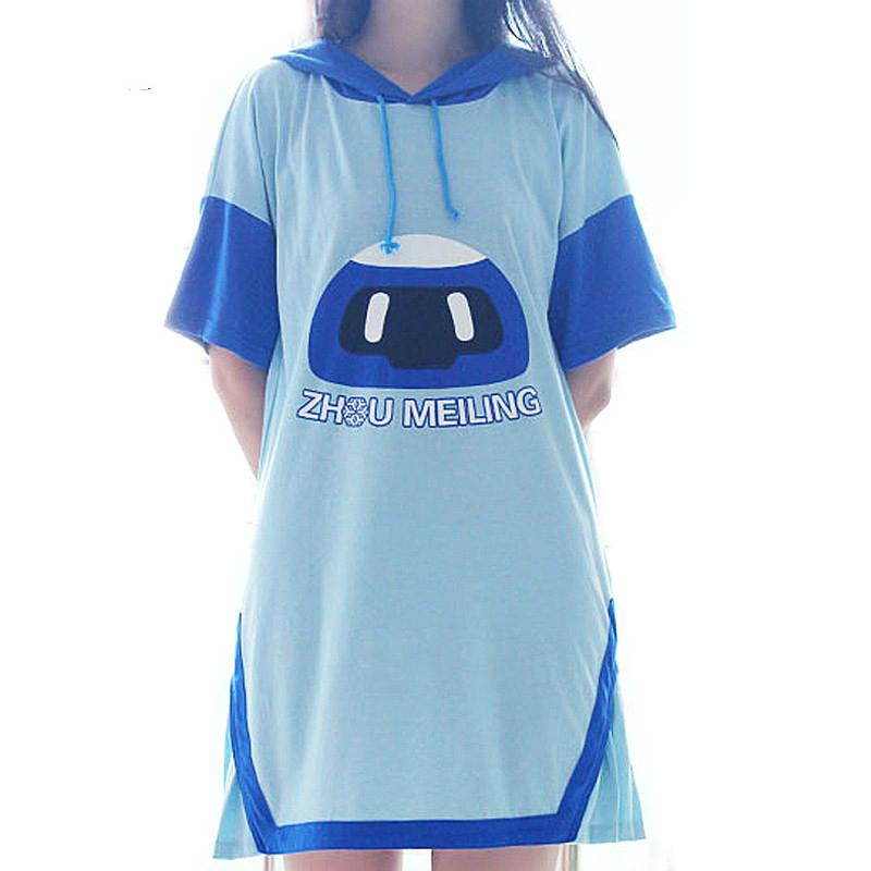 783b059a29 Summer Hooded Hoodie Dress Girls Short Sleeve Mei Frozen Robot Casual Dress  Anime Cosplay Cute Short Dress Comfortable Dresses on Storenvy