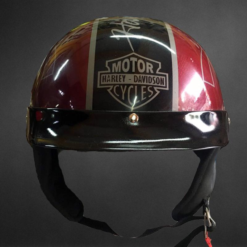 Custom Airbrush Motorcycle Half Helmet With Harley Davidson Skull