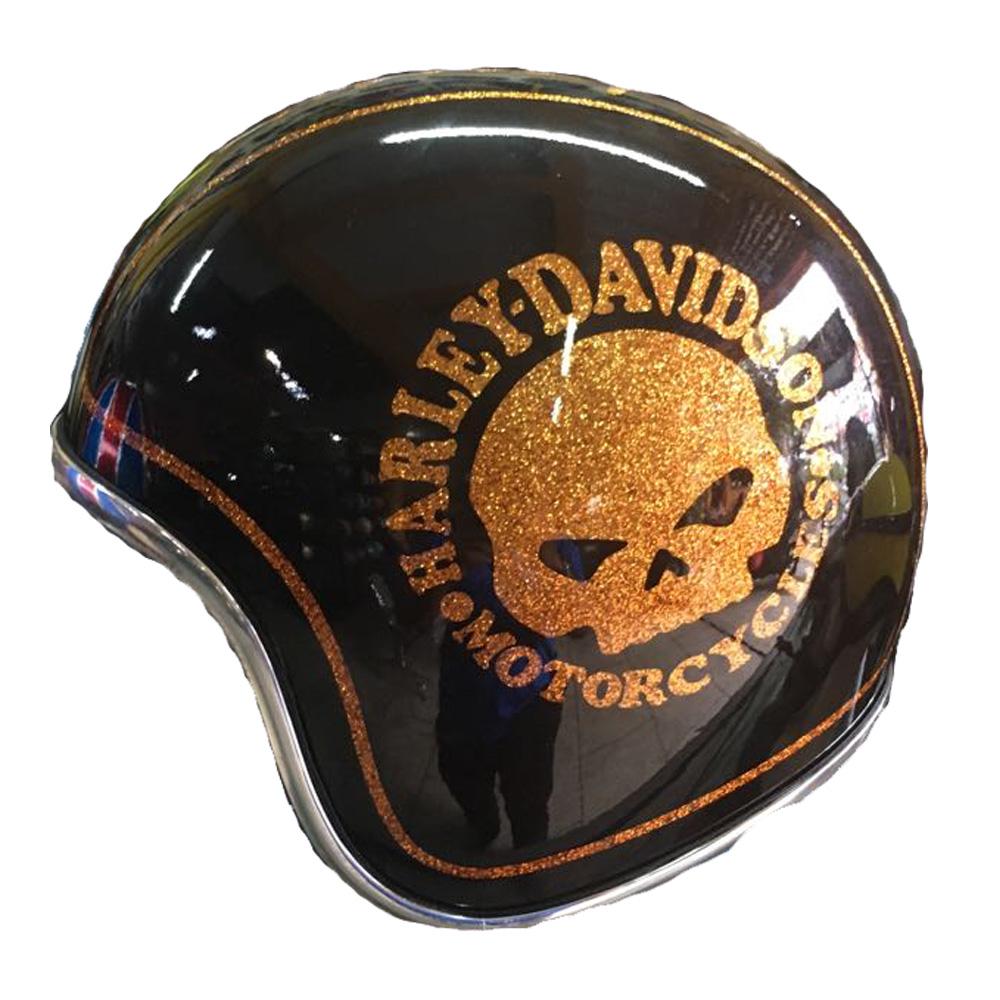 Airbrush Painted Custom Motorcycle Half Helmet With Brown Harley