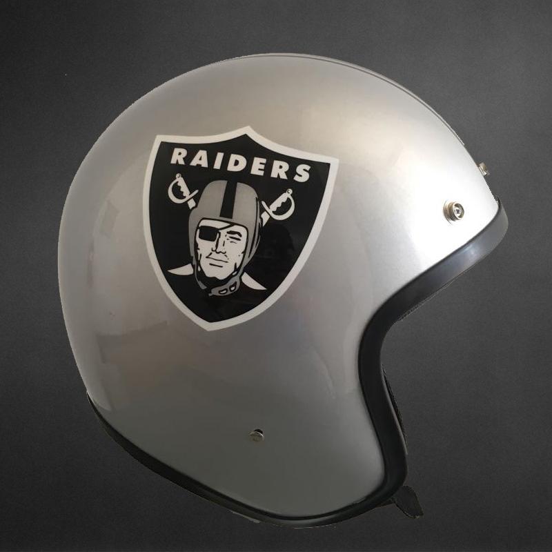 Oakland Raiders Motorcycle Open Face Helmet Custom Airbrush