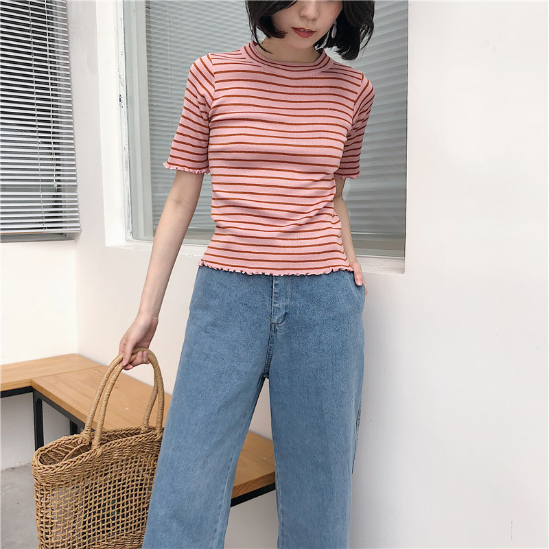 48f04f50e3 Korean Style Knitted Striped Crop Top Tee Women Student T Shirt on ...