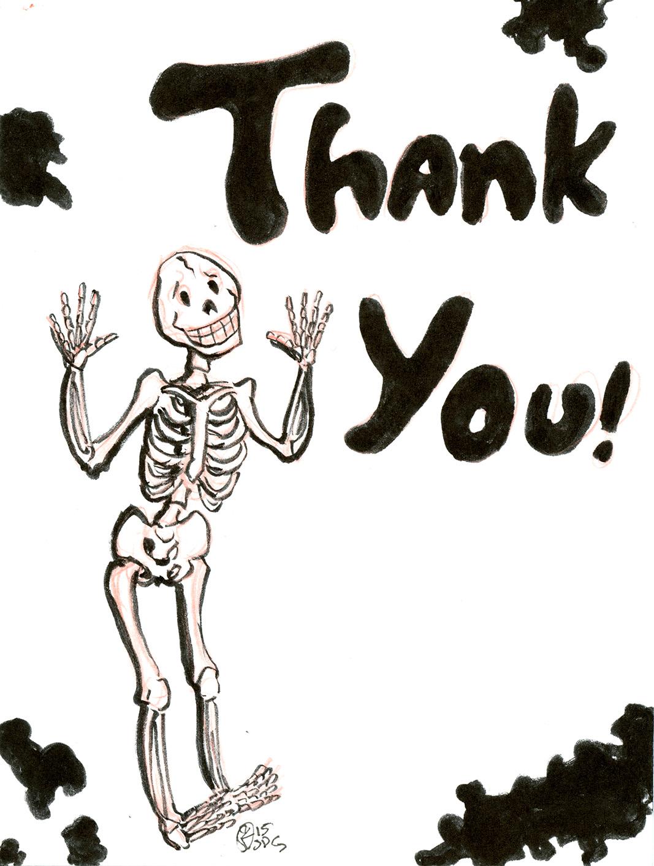 thank you skeleton inktober drawing on storenvy