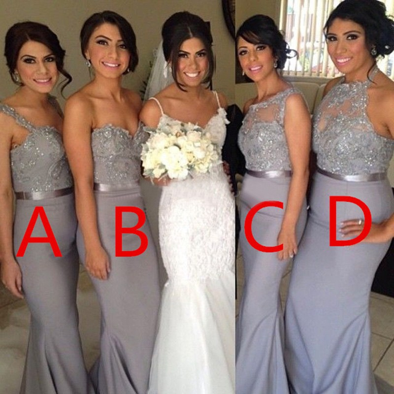 fd6cc0e38e Mismatched Sequined Beading Mermaid Light Grey Bridesmaid Dresses,Free  Shipping>3 pieces from MychicDress