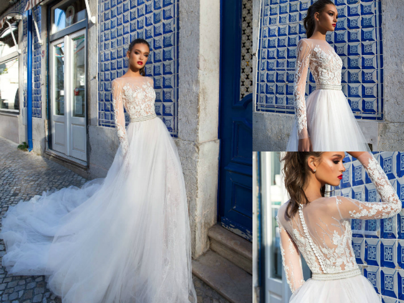 5a44b2da Summer Beach 2018 Lace Wedding Dresses A Line Long Sleeves Boho Bridal Gowns  Illusion Jewel Neck