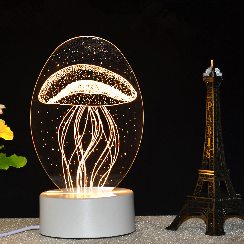 Colorful Night Light Plug Bedside Lamp Creative Fantasy Romantic 3d