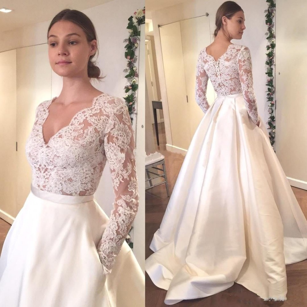 97e4fd395e828 Vintage White Satin Wedding Dress Long Sleeve Lace Wedding Dresses V Neck  Cheap Custom Bridal Gowns from better4u