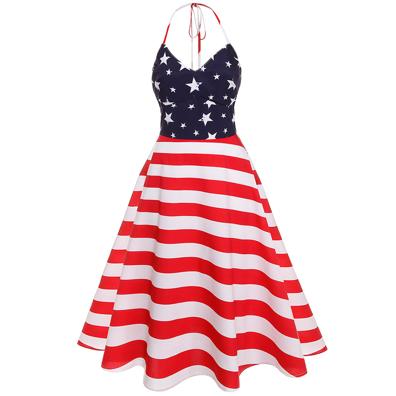 dccd23936b0f7 4th of July Patriotic Day Halter American Flag Print Dress ...