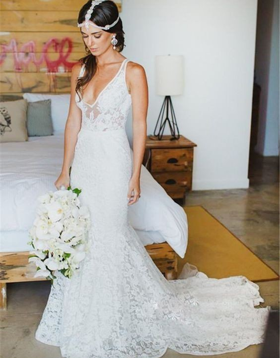 Vintage White Lace Wedding Dress Mermaid Sexy V Neck Summer Beach Wedding Dress Modest Country Handmade Bridal Gowns From Better4u