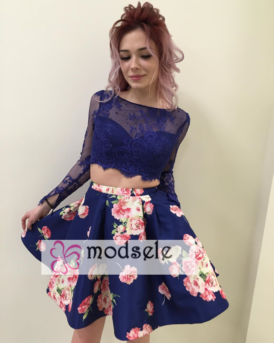 ff65b4c246 Two Piece Long Sleeves Royal Blue Floral Short Homecoming Dress ...