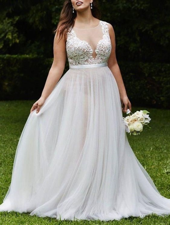 Vintage White Summer Beach Wedding Dress Scoop Neck See Through Lace  Appliques Plus Size Chiffon Handmade Bridal Gown