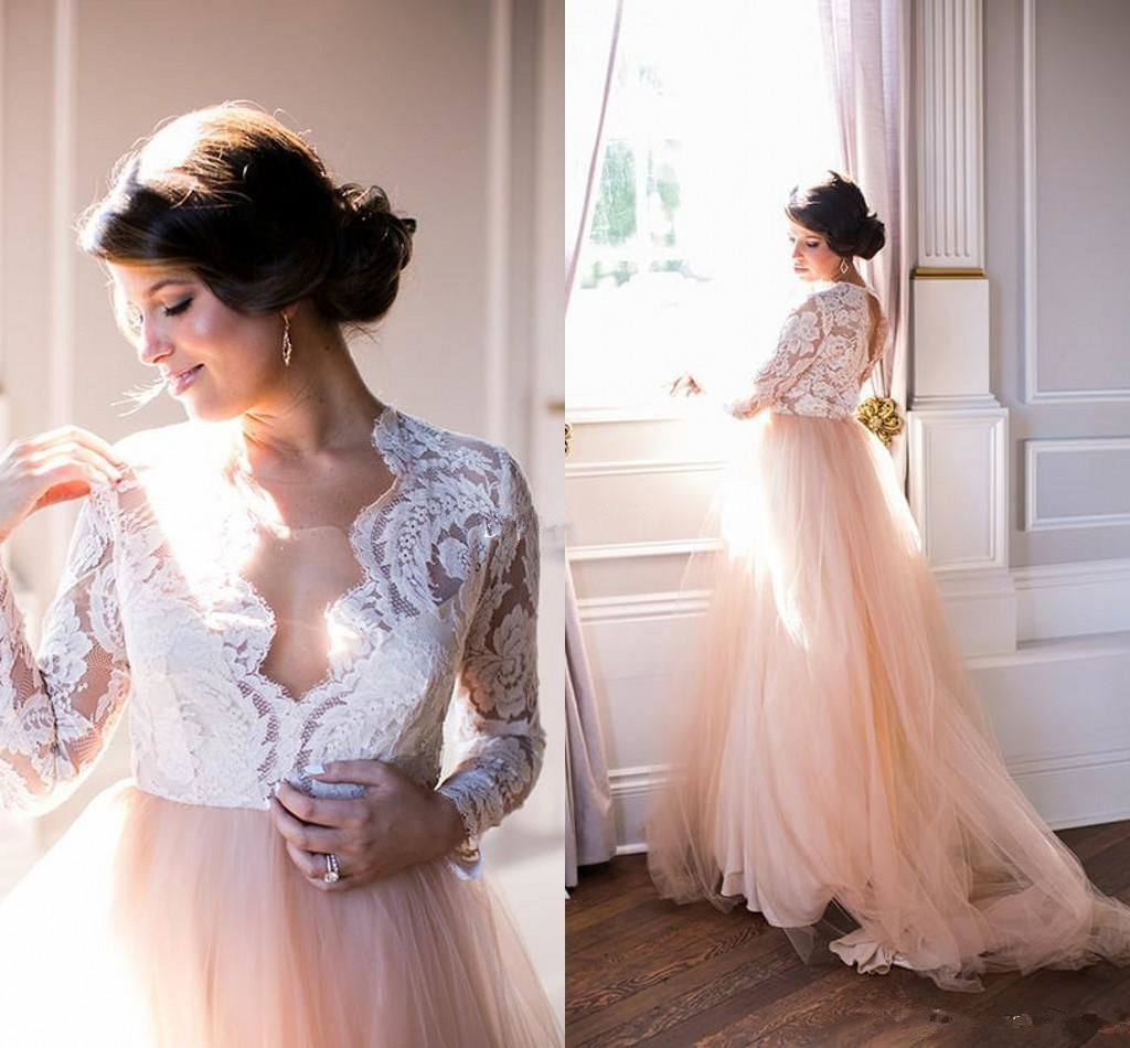 0165f279ff Plus Size Pink Summer Beach Wedding Dress Long Sleeve Lace V-Neck Tulle  Modest Country