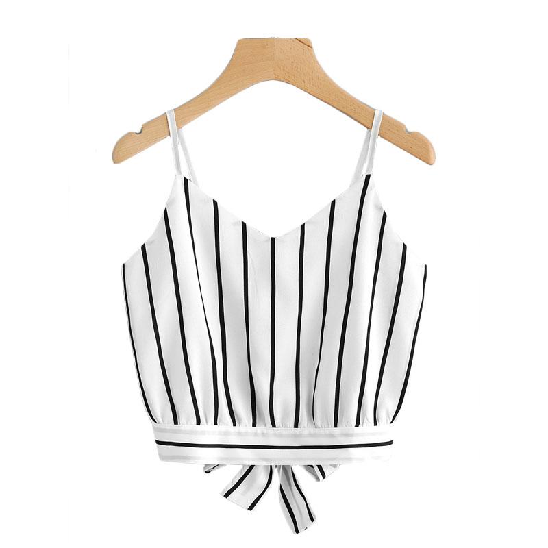 3d1c8e2e5e363 Striped Split Tie Back Crop Cami Top Women Casual Spaghetti Strap ...