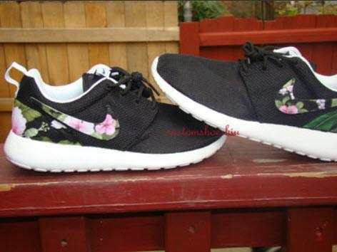 best sneakers ee8e7 e229f Custom Pink Black Tropical Floral Nike Roshe Run from Eshays