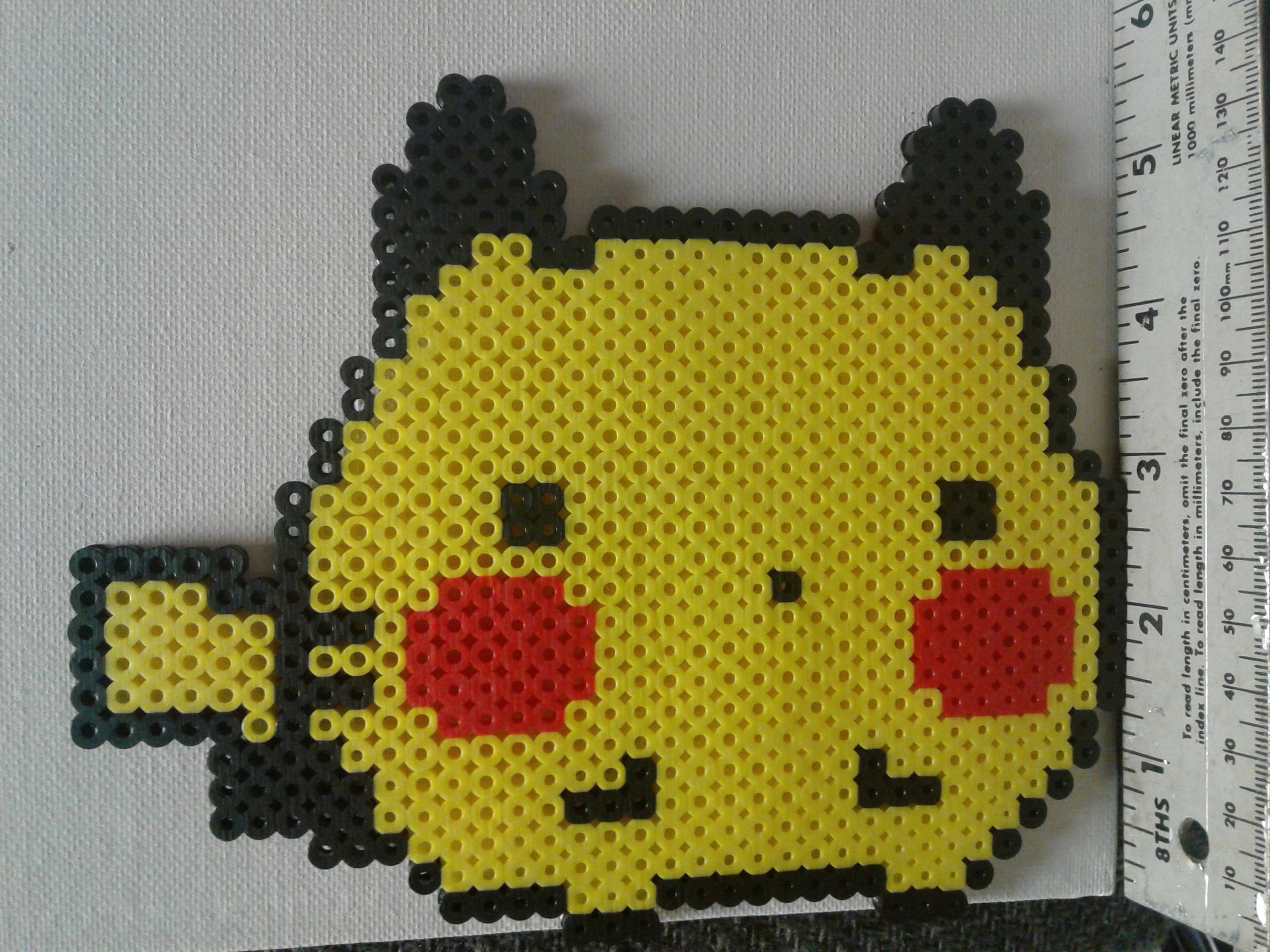 Cute Chubby Chibi Pikachu Perler Bead Sprite / Magnet sold by Crafty Couple