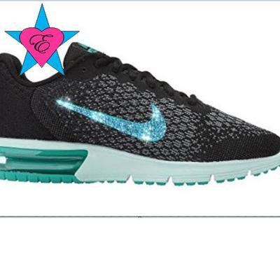 Custom crystal bedazzled women black jade nike air max sequent 2 0a12af735