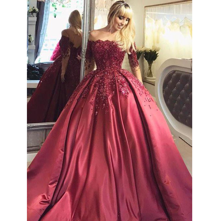 c81d6f11f5 Burgundy Ball Gown Prom Dress Off Shoulder Long Sleeve Lace Appliques  Beaded Bateau Floor Length Formal