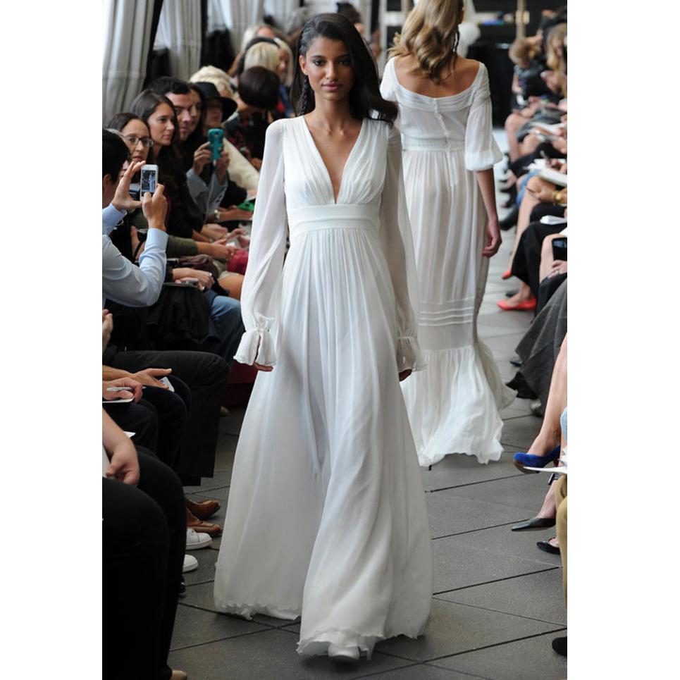 b214016689bc 2018 White Chiffon Summer Wedding Dress Long Sleeve V-Neck Modest Beach  Country Wedding Elegant