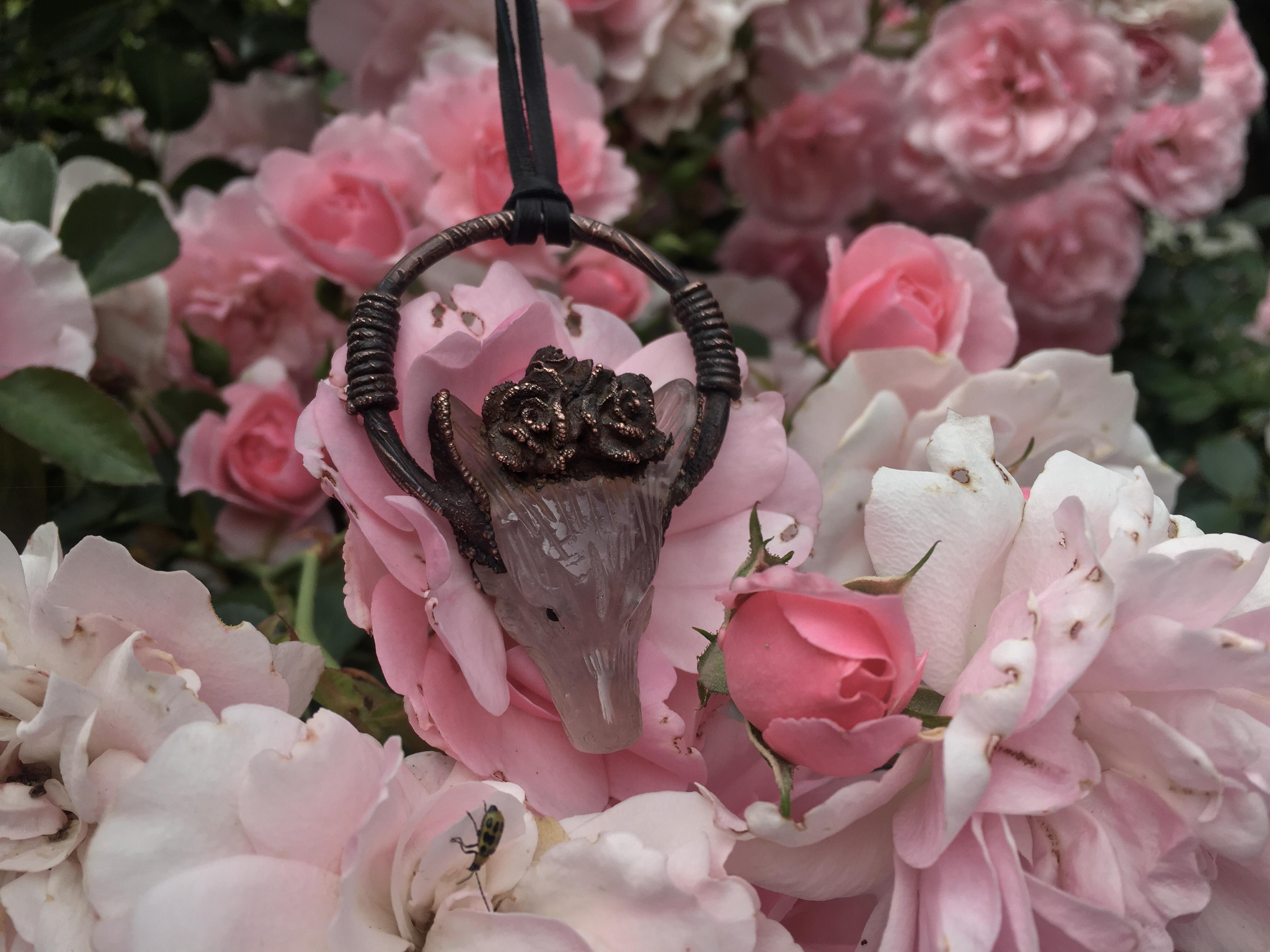 Rose quartz flower crown binding of fenrir pendant chantrieri moon rose quartz flower crown binding of fenrir pendant izmirmasajfo