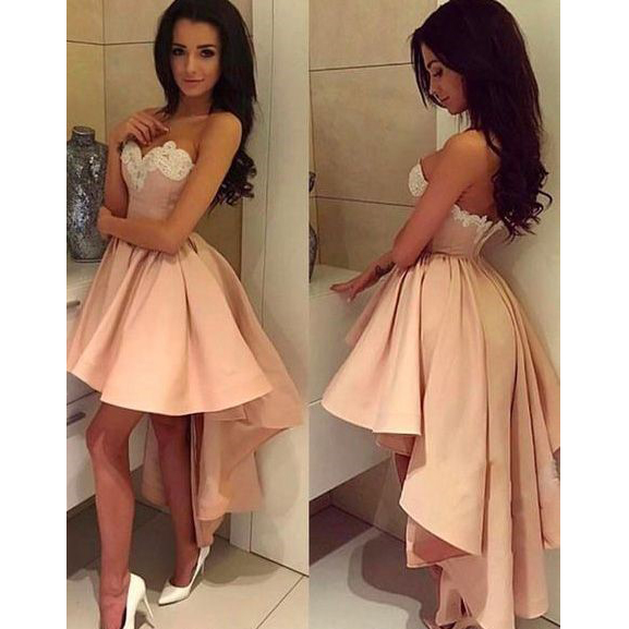 98918822b8bb Pink Short Formal Homecoming Dress Sweetheart Lace Appliques High Low Satin  Sexy Summer Backless Ruffles Cocktail