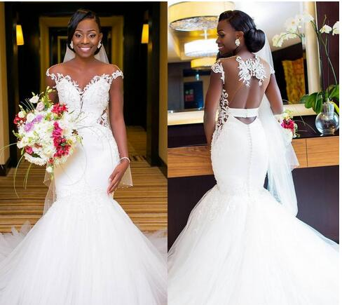 030237bdd4b African Mermaid Wedding Dresses Sexy Backless Lace Black Girl ...