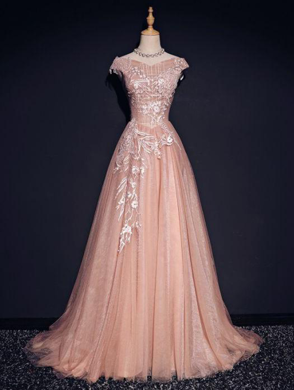 22a9b18b652 Chic pink tulle A-line off shoulder appliques modest long cap sleeves prom  dresses