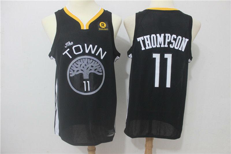 2017-18 Golden State Warriors  11 Klay Thompson Jersey Black ... 8bdc306fe