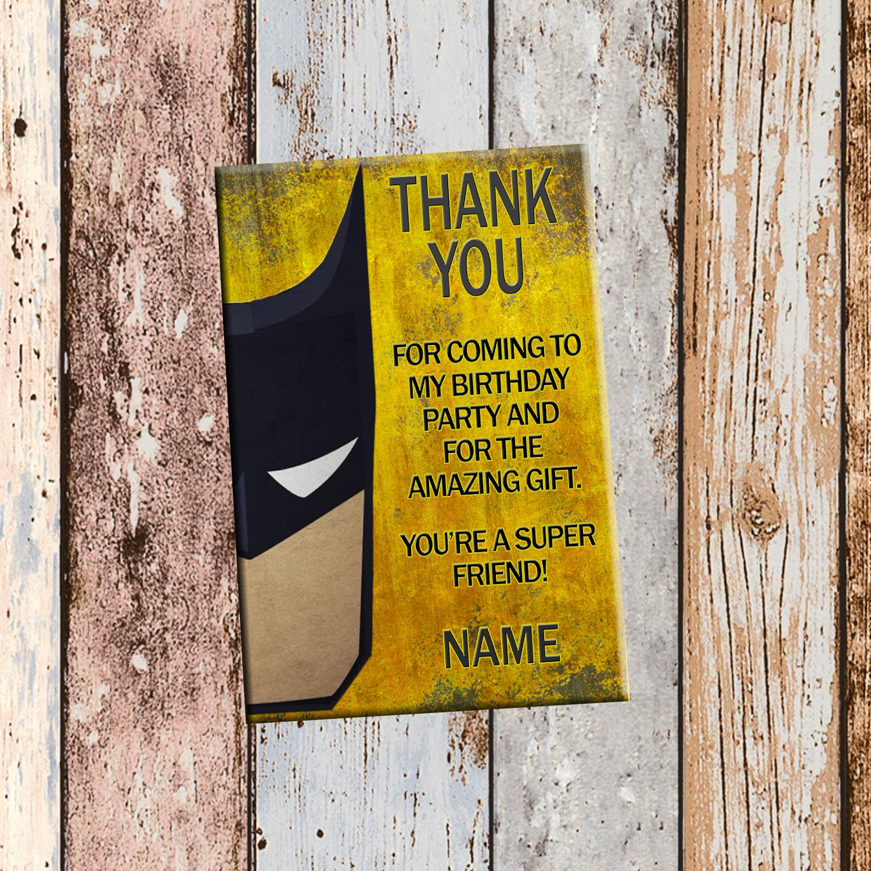 Batman Superhero Personalized Birthday Invitation 2 Sided Card Party