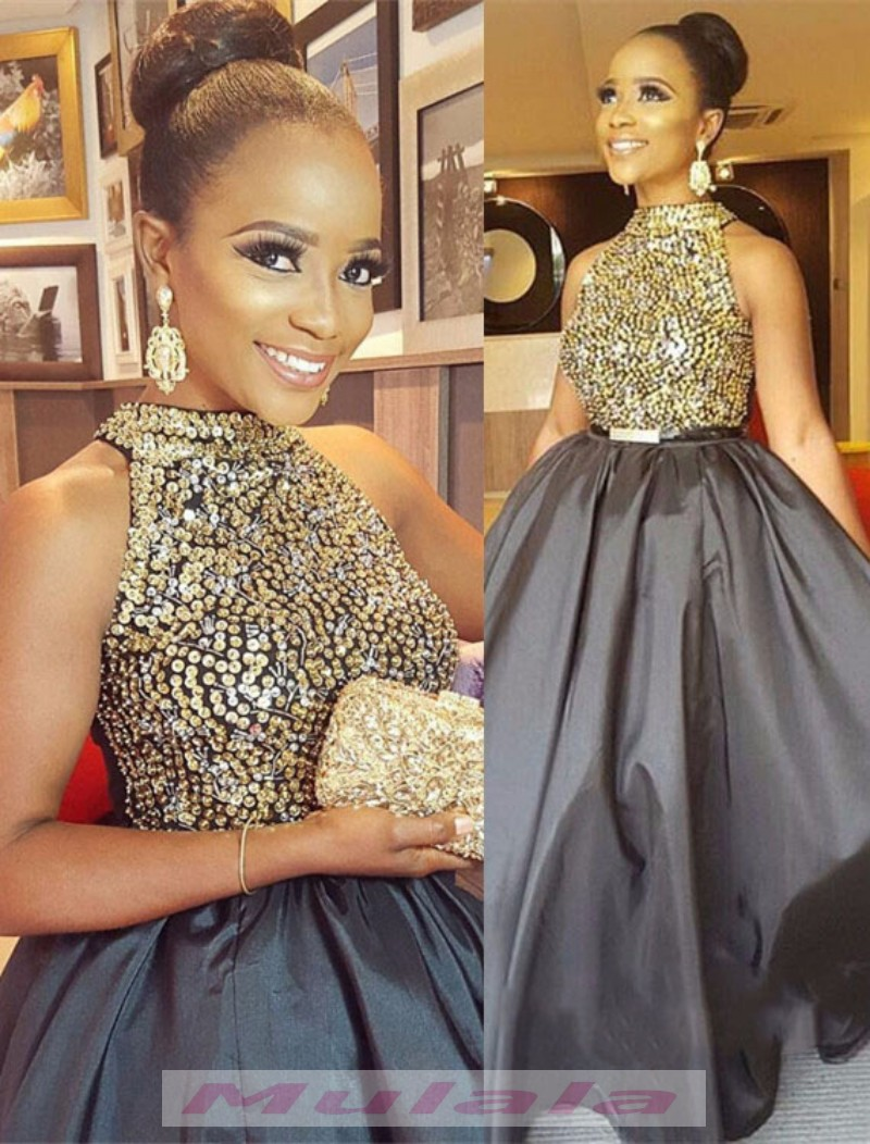 9ce20d5638f2 Gold Crystal Beaded Ball Gown Prom Dresses For Black Girls 2018 High Neck  Evening Dress African