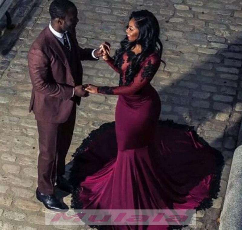 7693683551 African Burgundy Long Sleeve Prom Dresses For Black Girls 2018 Lace  Appliques Beaded Mermaid Evening Dress Sexy Sheer Neck Backless Party Gowns  on Storenvy
