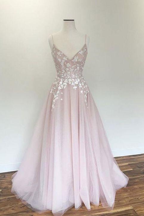 Light Pink V Neck Tulle Applique Long Prom Dress Pink