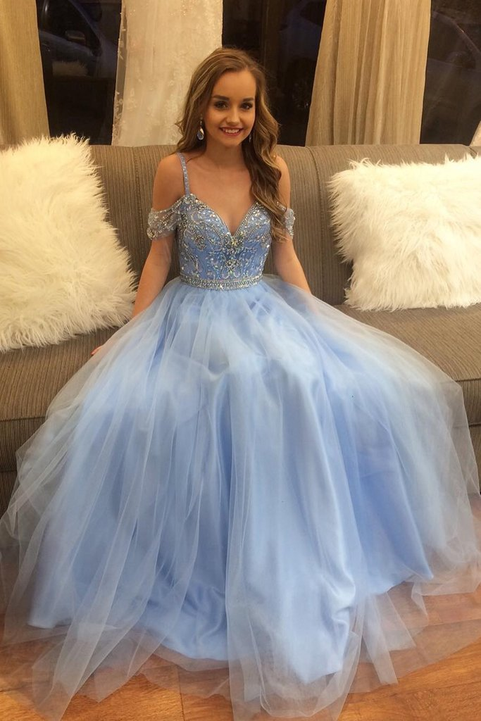 0c6e82929bdb Cute A-line Light Blue Tulle Beading Off Shoulder Prom Dresses,Sparkly  Elegant Evening