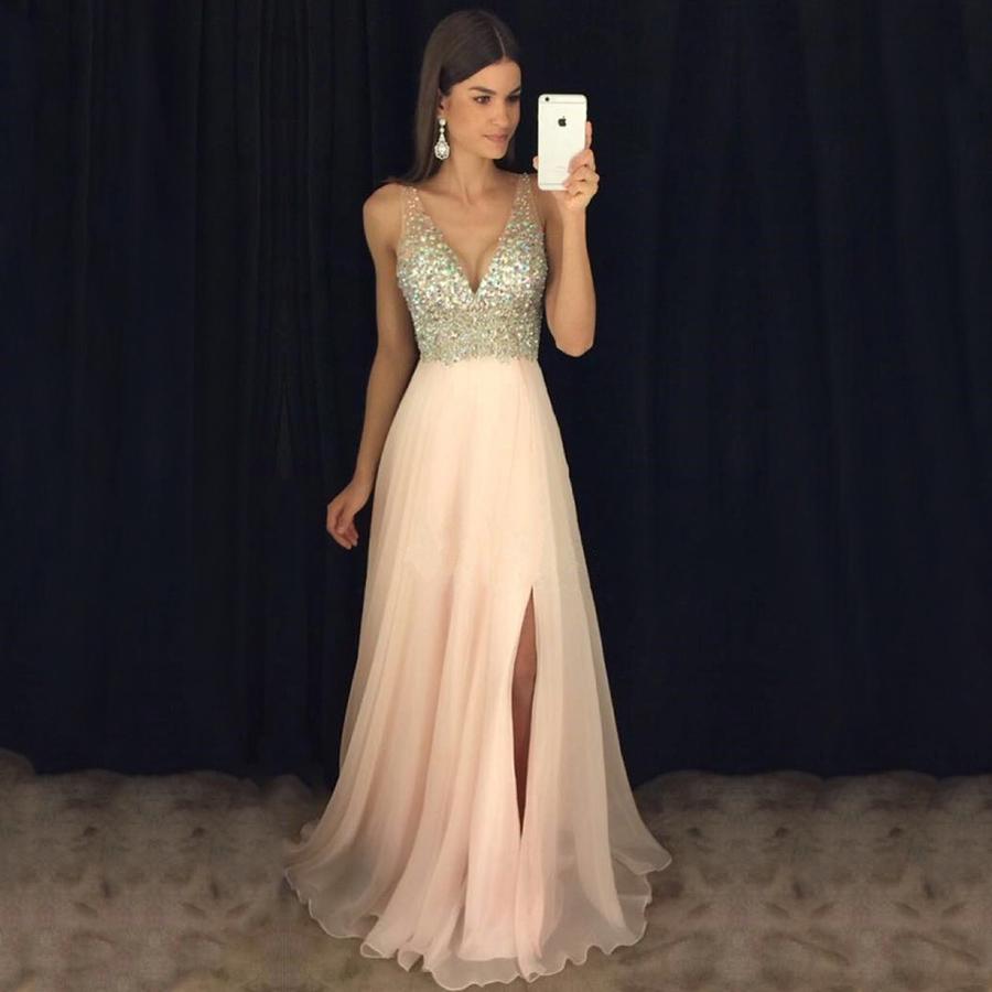 23f42793782a Pink Prom Dresses, Elegant Chiffon V-neck Long Evening Dresses, Best Split  Front