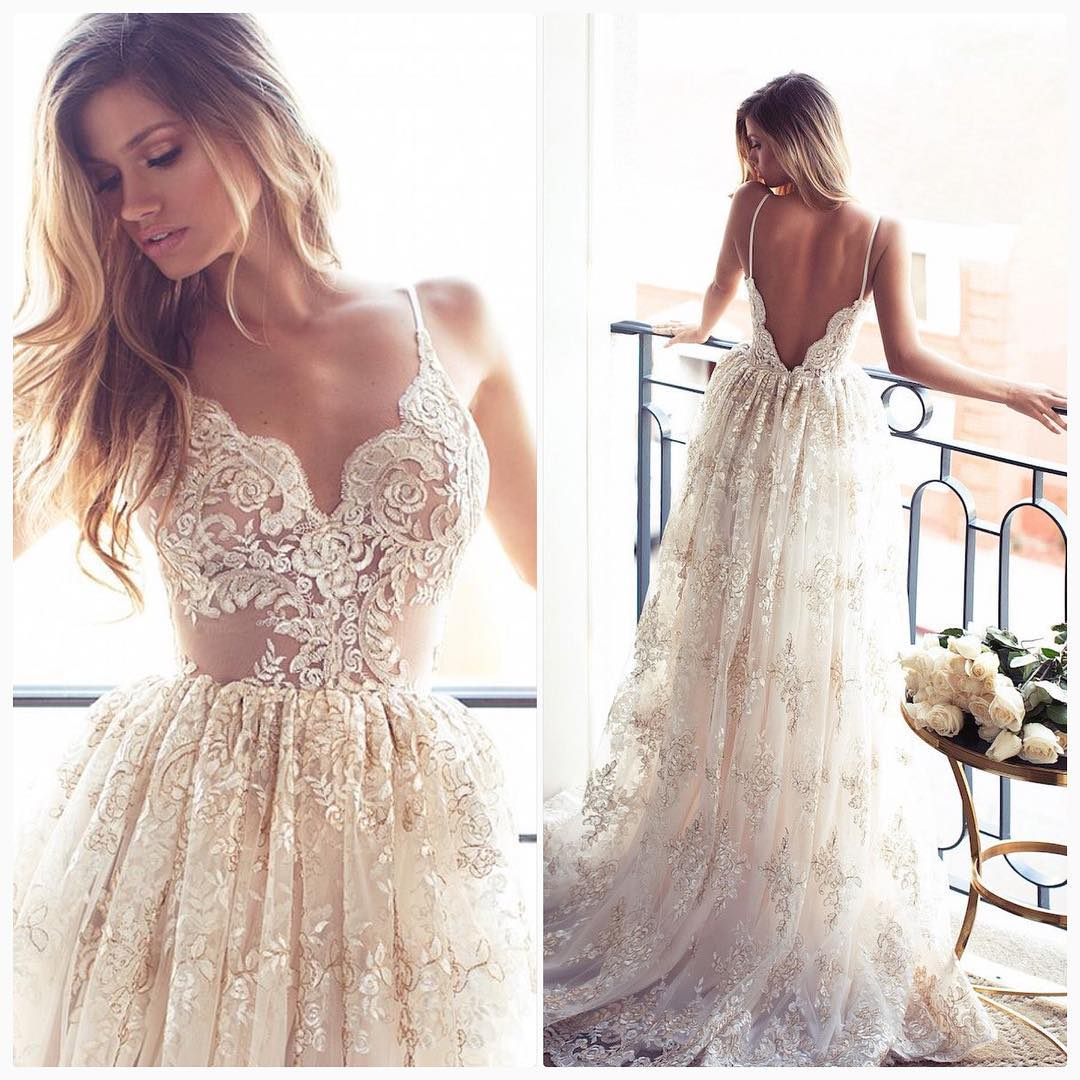 Wedding Gown With Lace: Romantic A-line Strapless Long Lace Wedding Dress On Storenvy