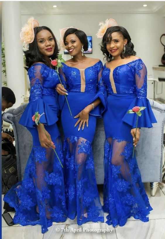 21c4b7d90ca4 Royal Blue Mermaid Bridesmaid Dresses Scoop Long Sleeve Lace Appliques  South African Bridesmaid Gowns