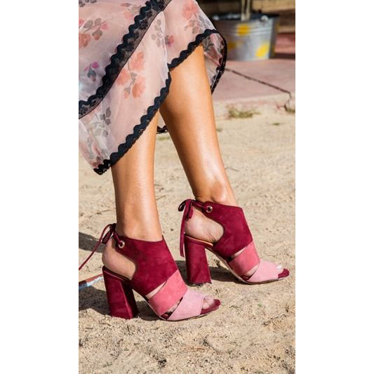 963a5d0d349b Color Block Suede Chunky Heel Peep-toe Lace-up High Heel Sandals Q- ...