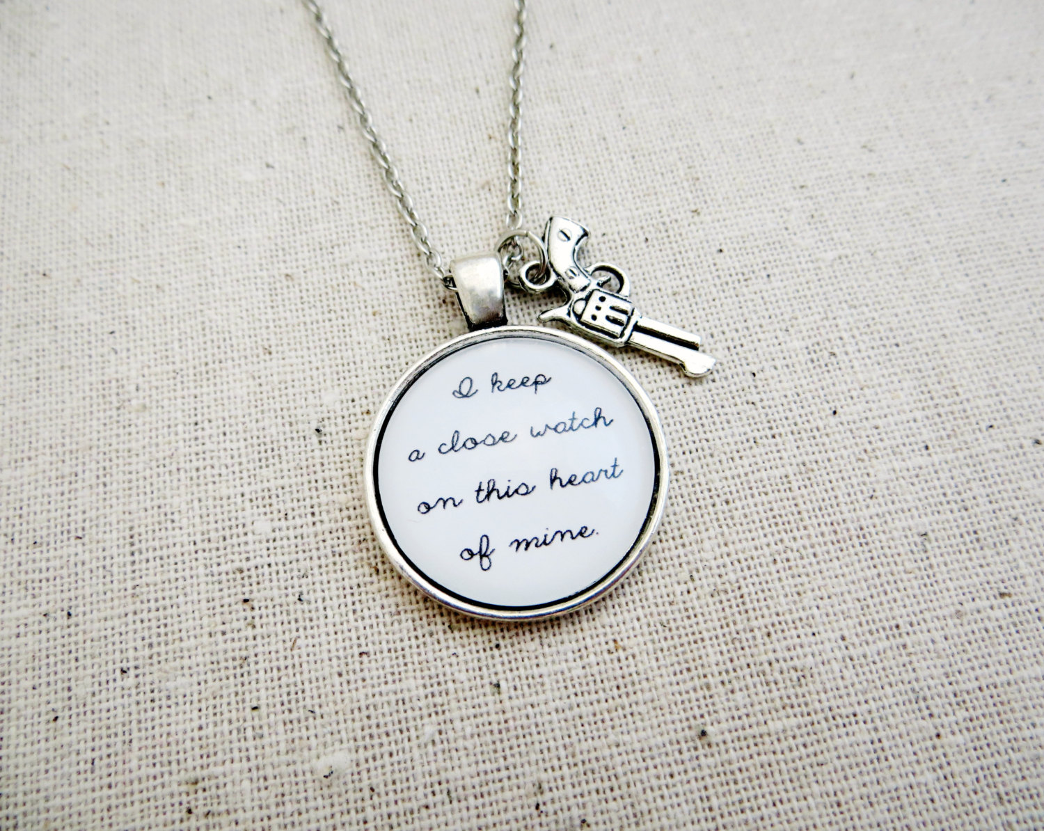 Johnny Cash I Walk The Line Inspired Lyrical Quote Necklace With Gun