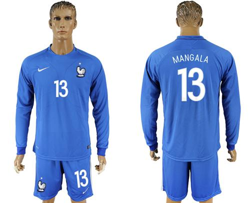308ff58f4 France  13 Mangala Home Long Sleeves Soccer Country Jersey on ...