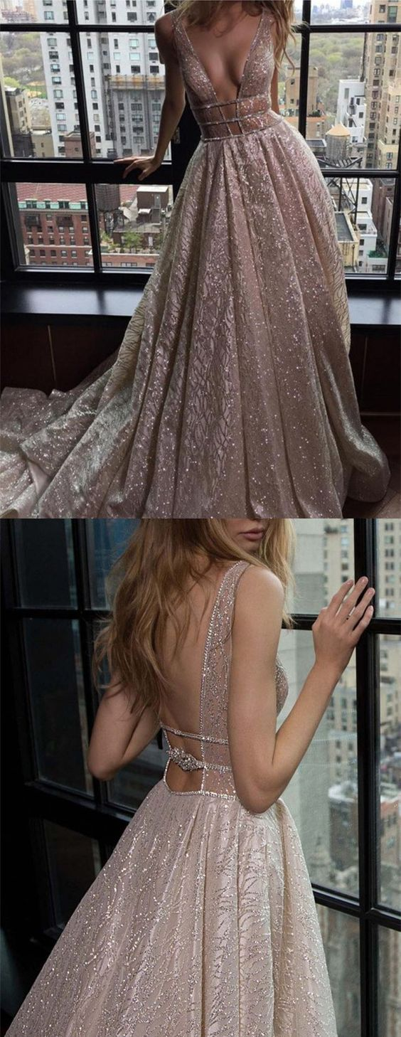 9d5d3b573bf3 A-Line Prom Dress,Deep V-Neck Party Dress,Train Pink Prom Dress, Backless  with Sequins on Storenvy
