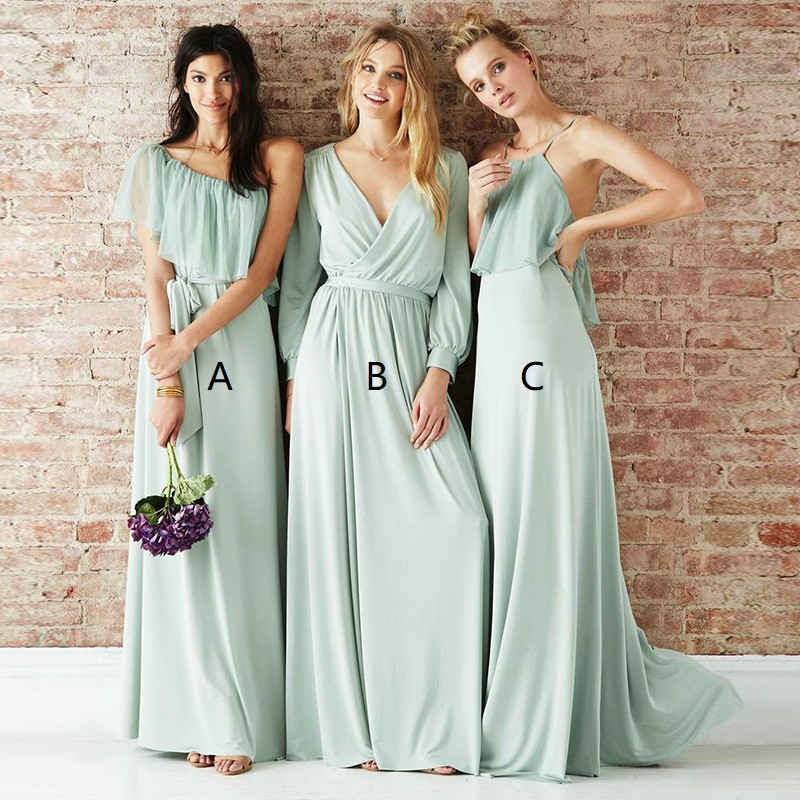 42216bd1c0 Mismatched Long Green Chiffon Custom Bridesmaid Dresses Online ...