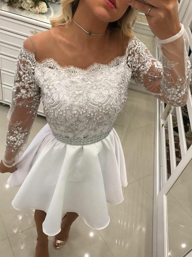 0e4a003ffb Gorgeous White Homecoming Dress 2018 Sheer Scoop Neckline Long Sleeve Lace  Top Beaded Short Prom Dresses