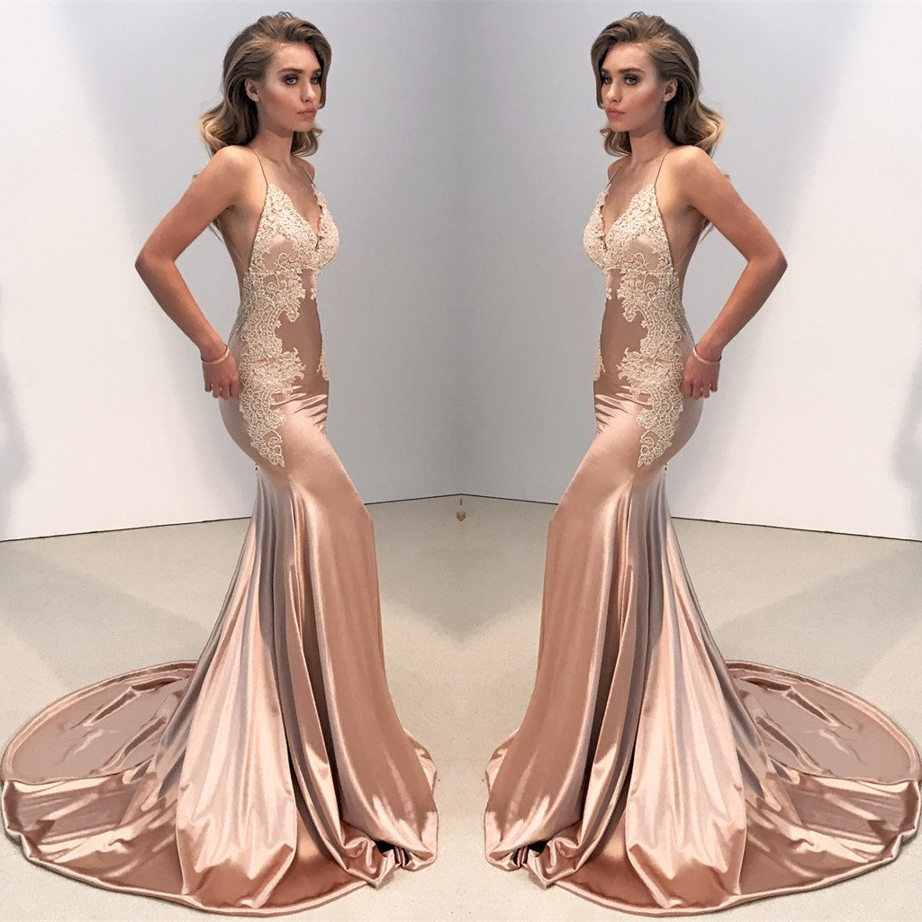 Rose Gold Prom Silvers: Rose Gold Satin Lace Evening Dress Long Party Gown Mermaid